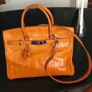 Orange alligator Berkin style handbag